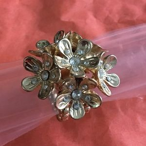 Gold flower cluster statement ring